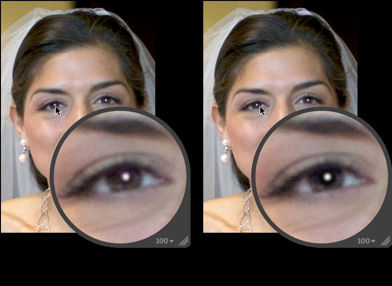 Figure. Image avant et après application d'un ajustement Sensibilité dans un repère Yeux rouges.