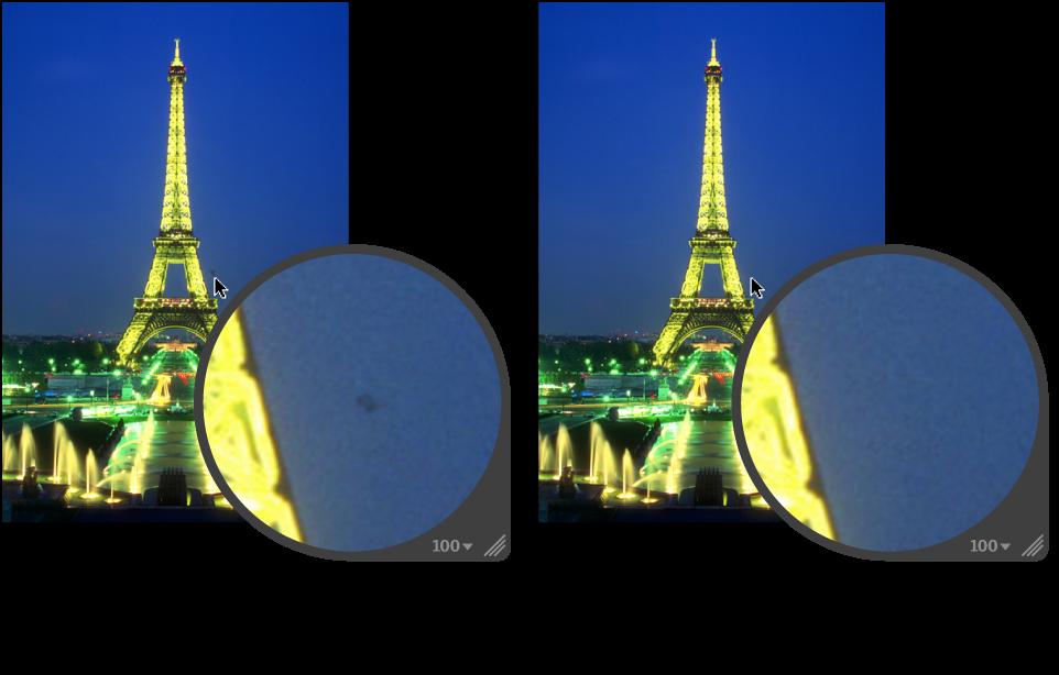 Figure. Image avant et après application d'un ajustement Repérer.