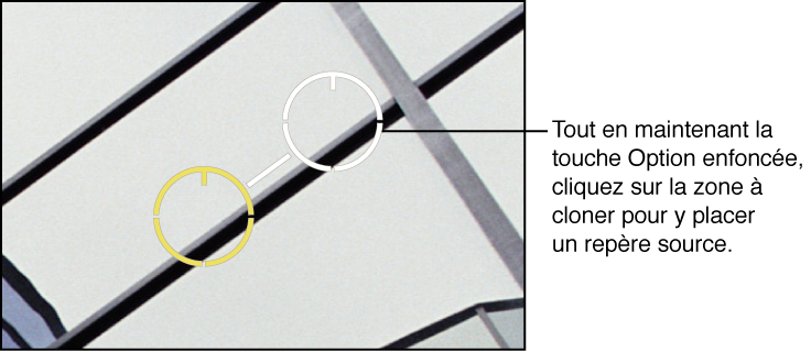 Figure. Image affichant un repère blanc placé sur la partie de l'image à partir de laquelle les pixels sont clonés.