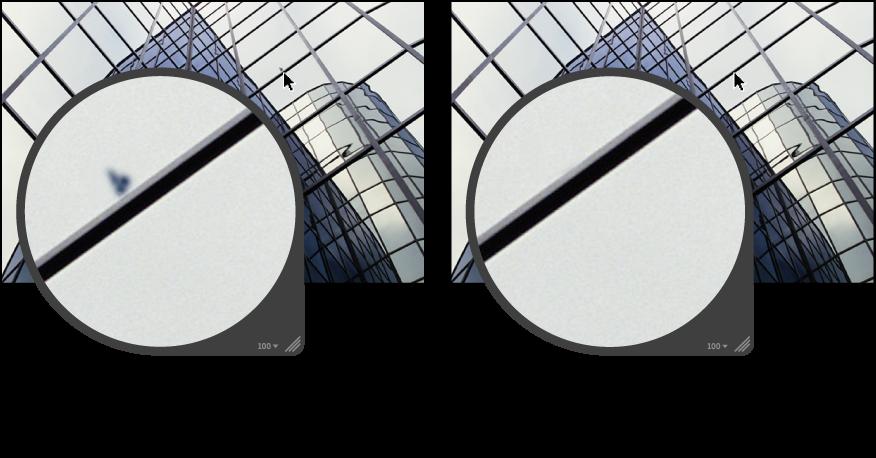 Figure. Image avant et après un ajustement Corriger.