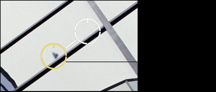 Figure. Image affichant un ajustement Opacité pour les pixels situés dans un repère Repérer et corriger.