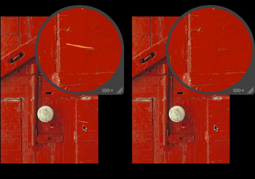 Figure. Image avant et après application d'un ajustement Réparer.