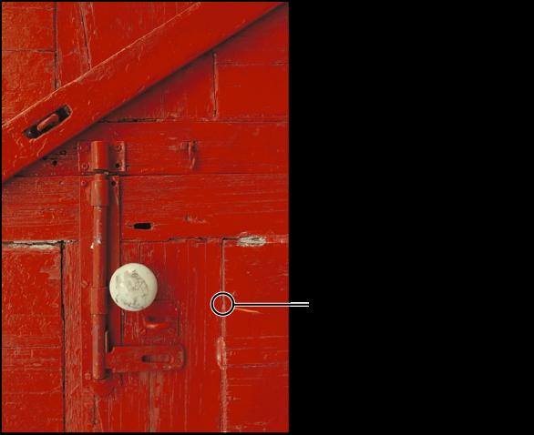 Figure. Image affichant une incrustation circulaire indiquant la position du pinceau Réparer.