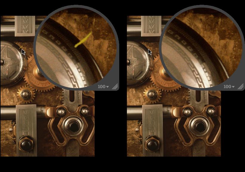 Figure. Image avant et après application d'un ajustement Cloner.