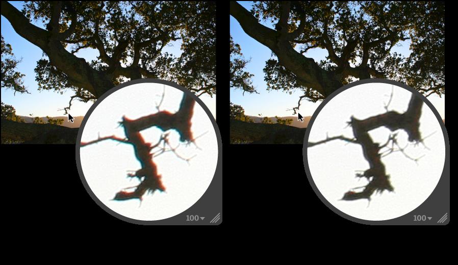 Figure. Image avant et après application d'un ajustement Aberration chromatique.