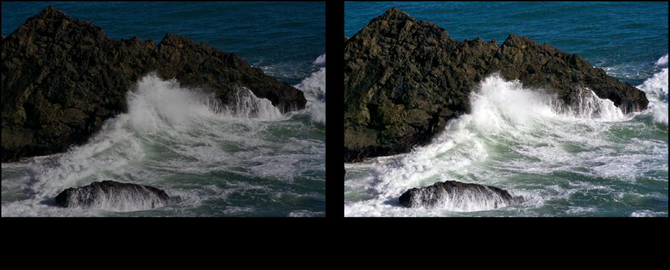 Figure. Image avant et après application d'un ajustement Courbes automatiques combinées.