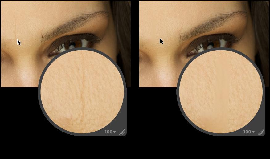 Figure. Image avant et après un ajustement au Pinceau rapide «Lissage de la peau».