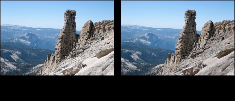 Figure. Image avant et après un ajustement Polariser de Pinceau rapide.