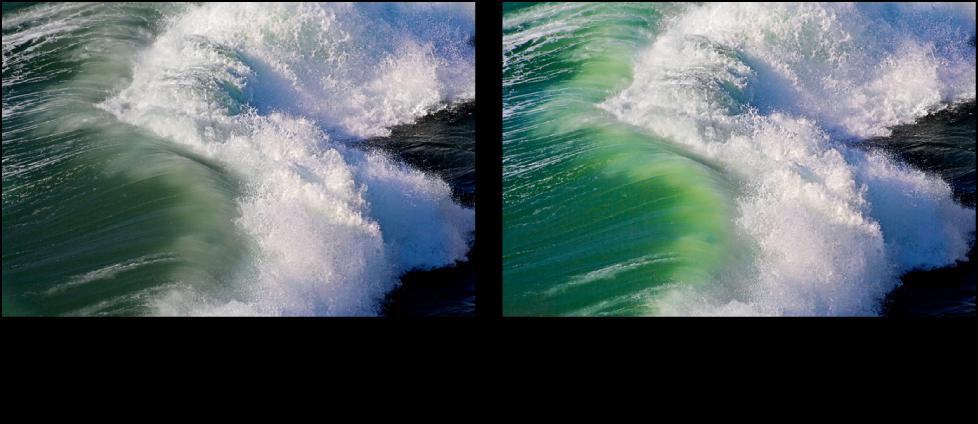 Figure. Image avant et après un ajustement Éclat de Pinceau rapide.