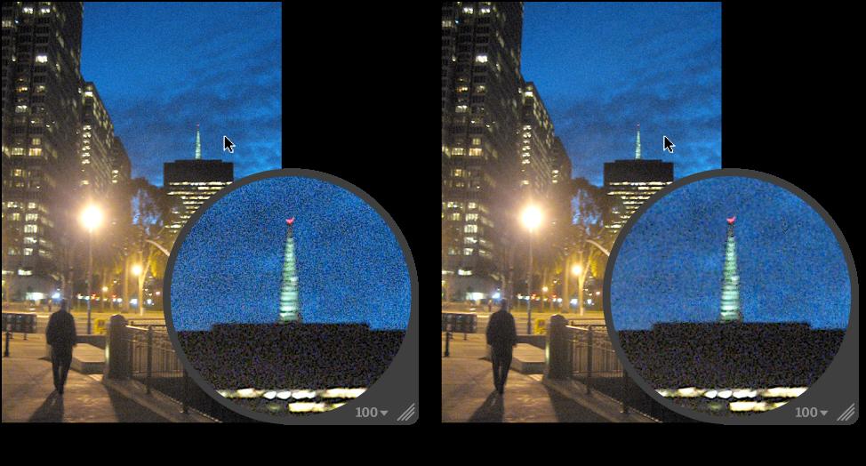 Figure. Image avant et après un ajustement Réduction du bruit de Pinceau rapide.