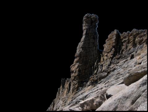 Figure. Image affichant une incrustation noire apparaissant sur la zone de l'image où l'ajustement n'a pas été appliqué, révélant la zone de l'image sur laquelle l'ajustement a été appliqué à l'aide du pinceau.