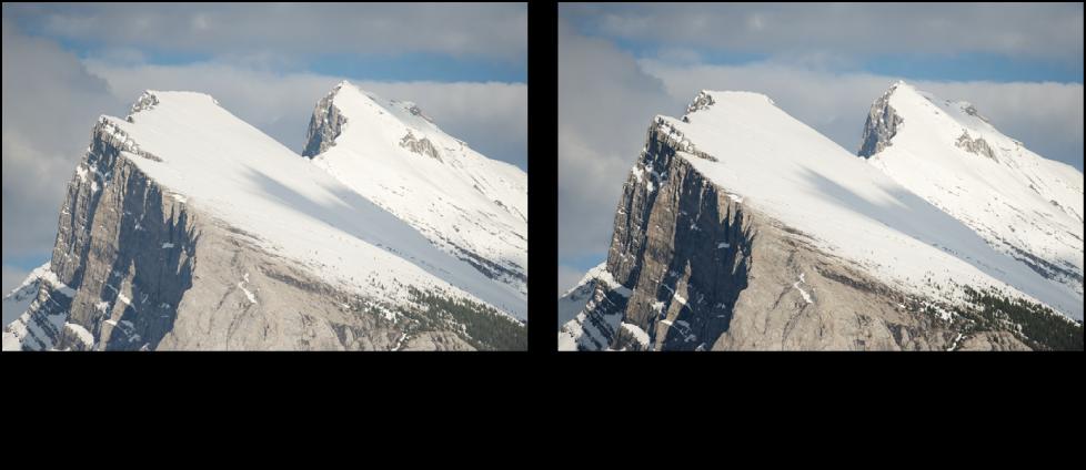 Figure. Image avant et après un ajustement Intensifier le contraste de Pinceau rapide.