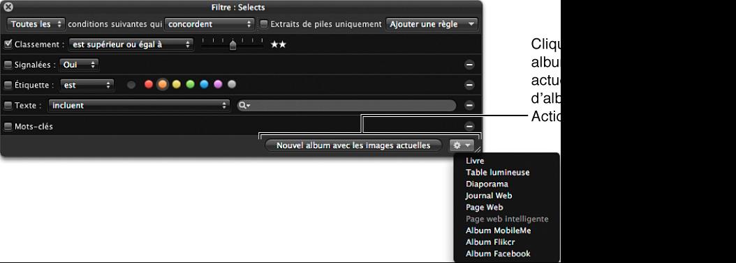 Figure. Palette de filtre du navigateur affichant des éléments dans le menu local Action de la palette de filtre.