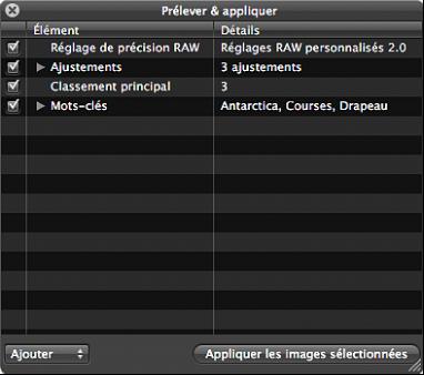 Figure. Palette Prélever et appliquer présentant les ajustements, les métadonnées IPTC et les mots-clés appliqués à l'image.
