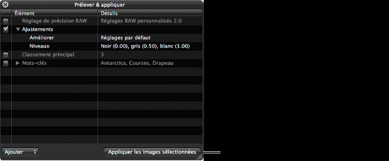 Figure. Palette Prélever et appliquer affichant le bouton «Appliquer aux images sélectionnées».