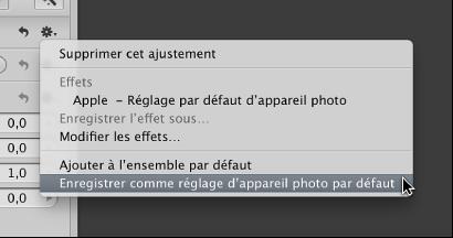 Figure. Menu local Action affichant la commande «Enregistrer comme réglage d'appareil photo par défaut».