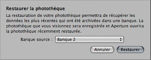 Figure. Zone de dialogue Restaurer la photothèque.