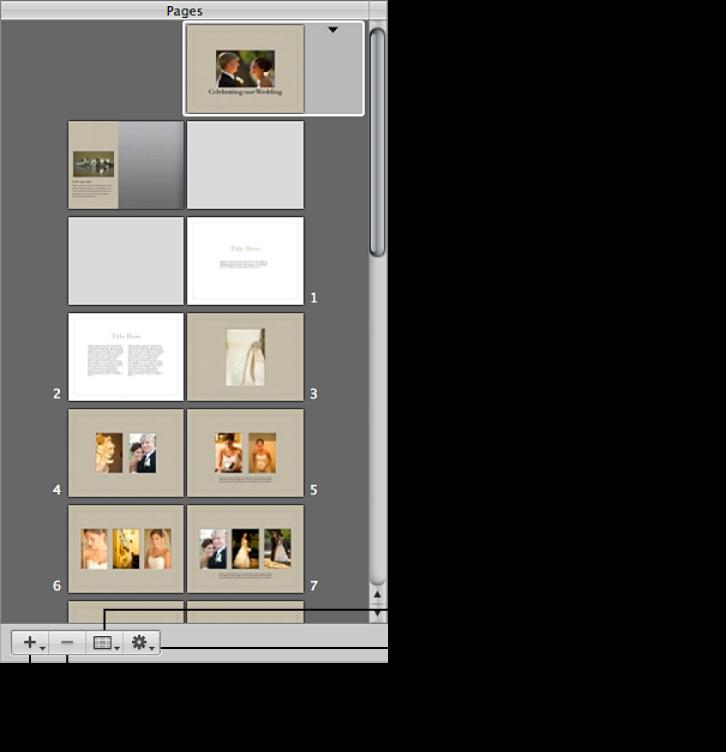 Figure. Commandes situées dans la sous-fenêtre Pages de l'éditeur de mise en page de livre.