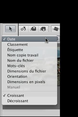 Figure. Options du menu local Tri dans le navigateur.