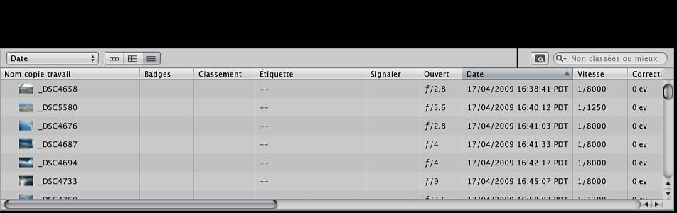 Figure. Navigateur en présentation par liste affichant les images triées par date.
