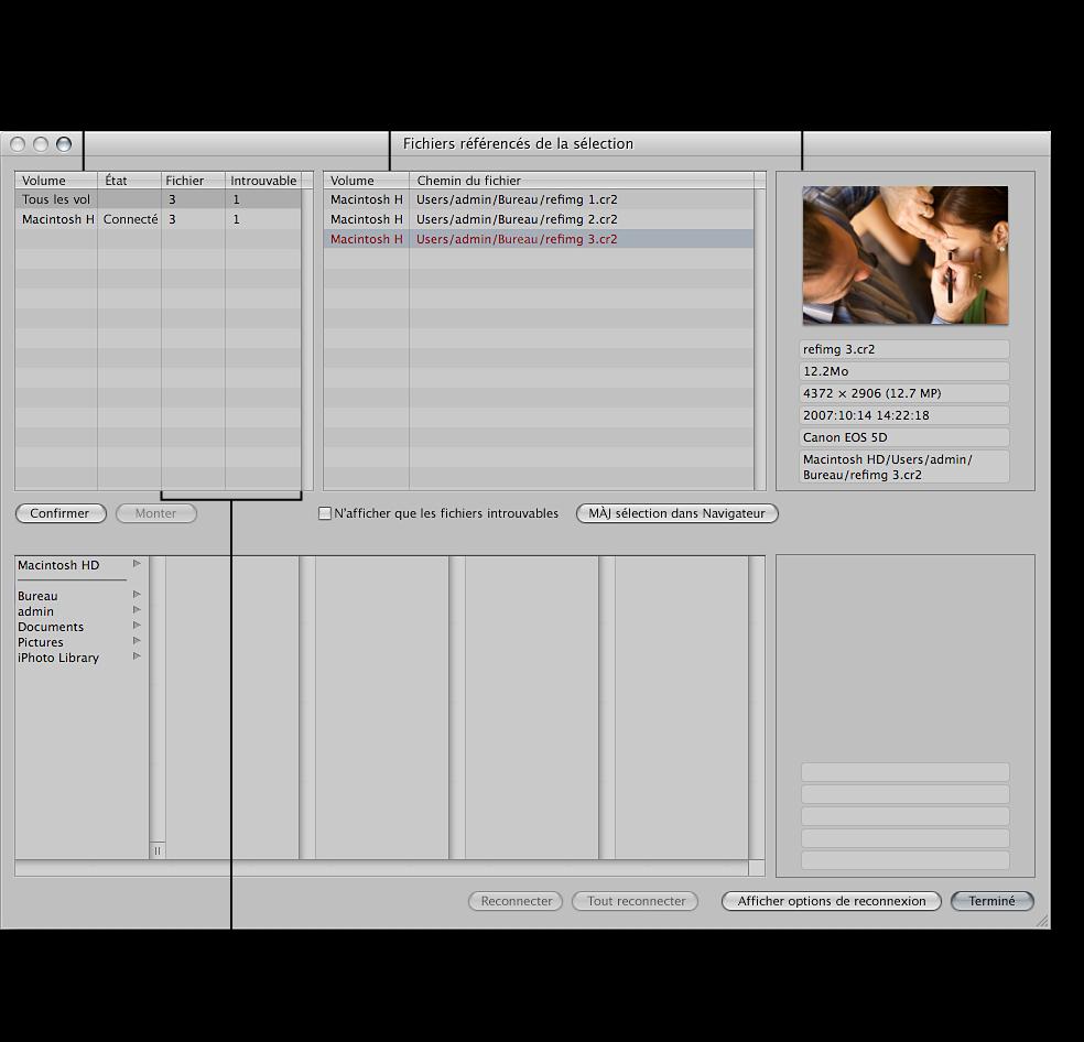 Figure. Zone de dialogue Fichiers référencés de la sélection affichant une liste des images référencées et les informations relatives à leurs originaux.