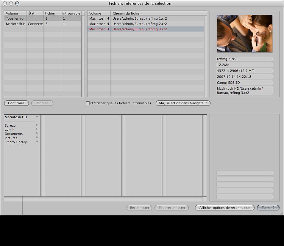 Figure.  Zone de dialogue Fichiers référencés de la sélection affichant les options de reconnexion.