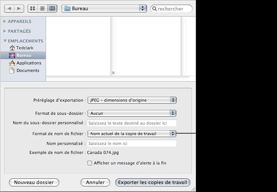 Figure. Commandes Format de nom de fichier disponibles dans la zone de dialogue Exportation.