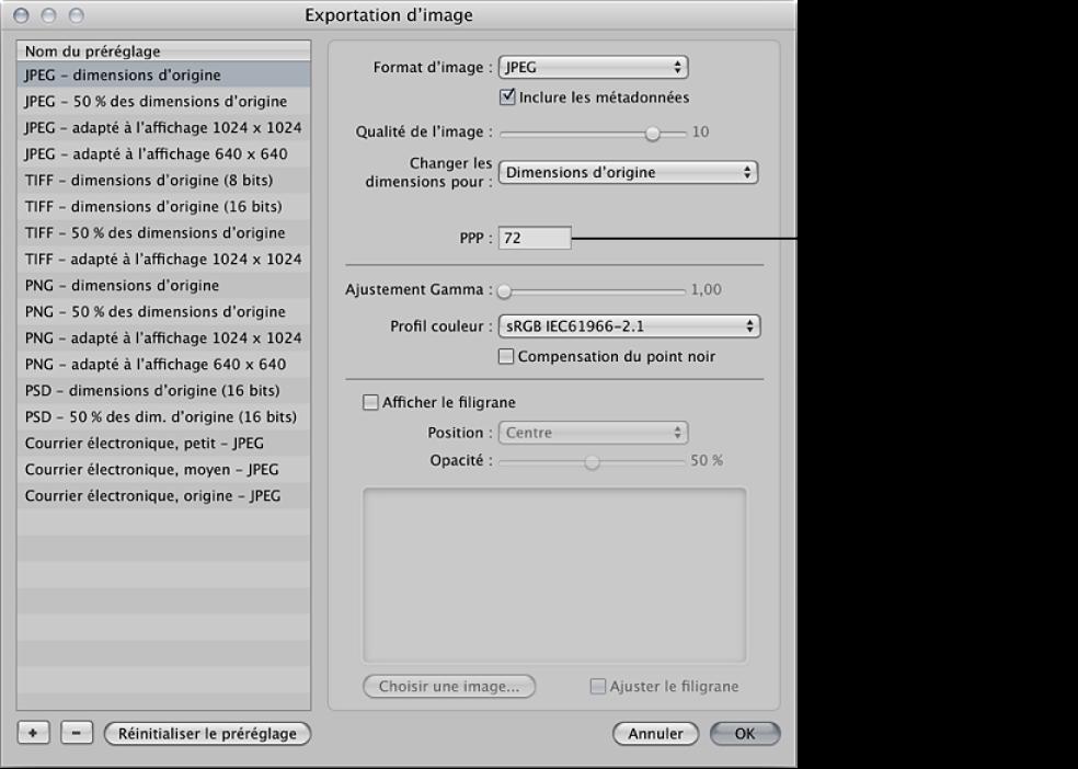 Figure. Commandes de réglage ppp disponibles dans la zone de dialogue Exportation d'image.