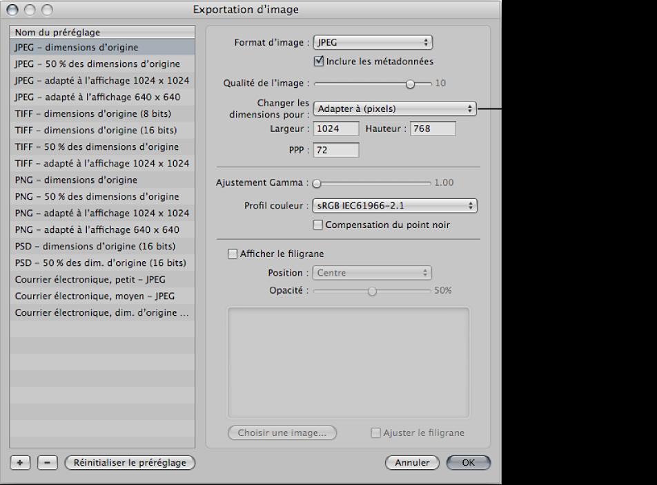 Figure. Commandes Changer les dimensionspour disponibles dans la zone de dialogue Exportation d'image.
