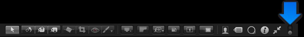 Figure. Barre d'outils de la présentation Plein écran affichant la commande Toujours afficher la barre d'outils.
