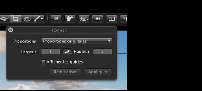 Figure. Outil Recadrer dans la barre d'outils de la présentation Plein écran et la palette Recadrer qui apparaît lorsque vous sélectionnez cet outil.