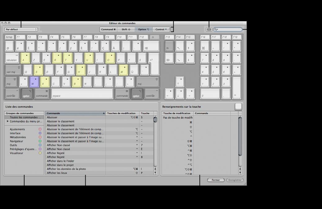 Figure. Commandes disponibles dans l'éditeur de commandes.