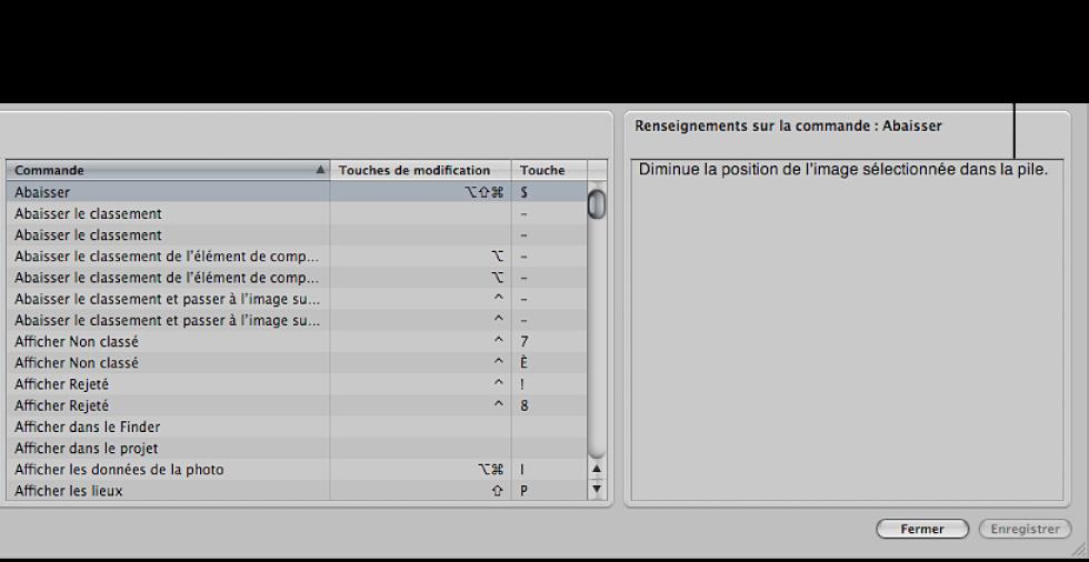 Figure. Commande Sélectionné(es) dans la liste de commandes et zone Détail affichant une description de la commande.