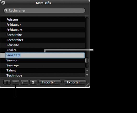 Figure. Palette de mots-clés affichant le bouton Ajouter un mot-clé et un nouveau mot-clé sans titre ajouté à la liste de mots-clés.