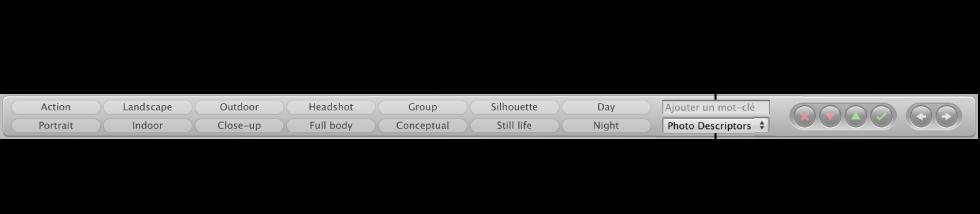 Figure. Commandes relatives aux mots-clés dans la barre des commandes.
