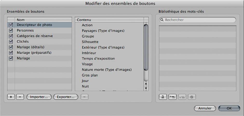 Figure. Zone de dialogue «Modifier des ensembles de boutons».