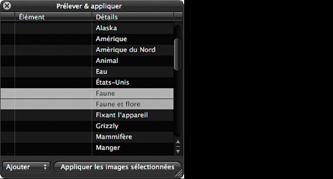 Figure. Palette Prélever et appliquer affichant les mots-clés sélectionnés en vue de leur suppression.
