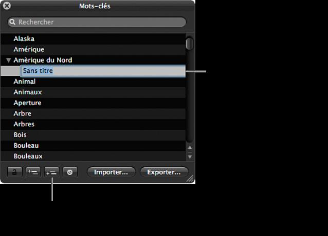 Figure. Palette de mots-clés affichant le bouton «Ajouter un mot-clé subordonné» et un nouveau mot-clé sans titre ajouté à un groupe de mots-clés.