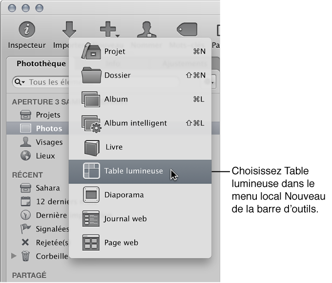 Figure. Éléments dans le menu local Nouveau de la barre d'outils.
