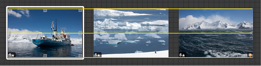 Figure. Image glissée et lignes directrices jaunes vous aidant à aligner visuellement l'image avec les autres images sur la table lumineuse.