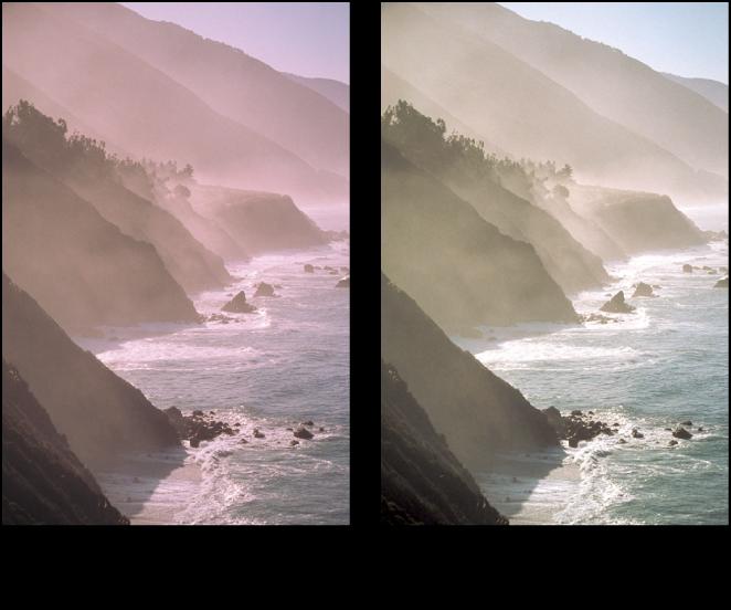 Figure. Image avant et après application d'un ajustement Niveaux autom. séparés.