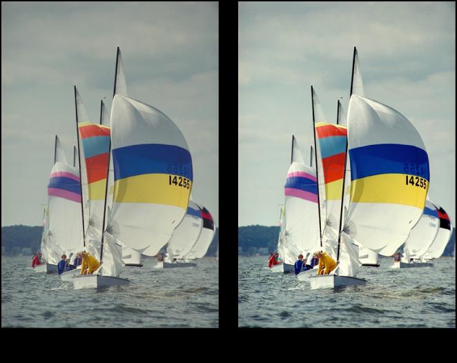 Figure. Image avant et après application d'un ajustement Contraste.