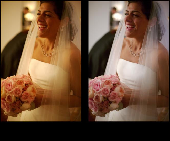 Figure. Image avant et après application d'un ajustement Balance des blancs.