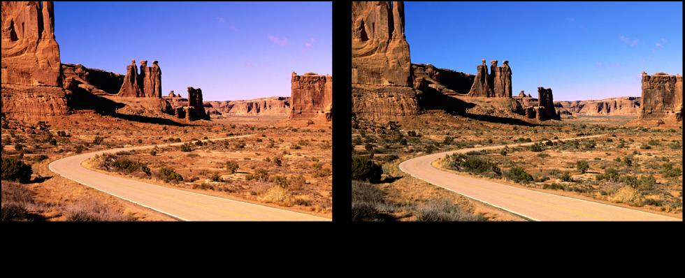 Figure. Image avant et après application d'un ajustement Niveaux de rouge.