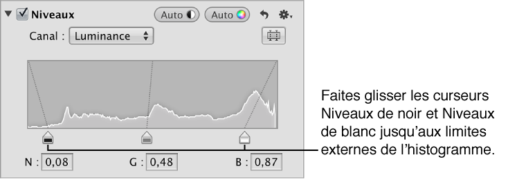 Figure. Curseurs Niveaux de noir et Niveaux de blanc placés sur les bords du graphique de l'histogramme de luminance dans la zone Niveaux de l'inspecteur des ajustements.