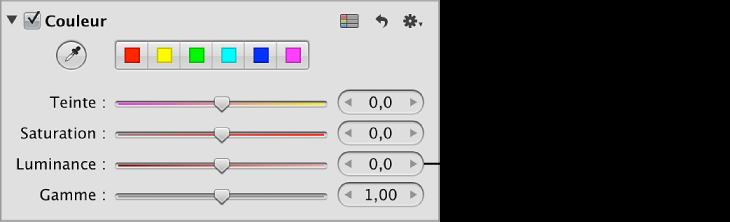 Figure. Commandes Luminance disponibles dans la zone Couleur de l'inspecteur des ajustements.