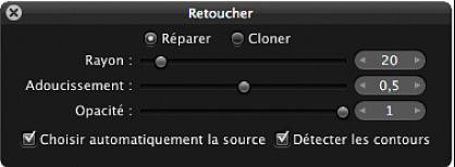 Figure. Commandes Réparer disponibles dans la palette de retouche.