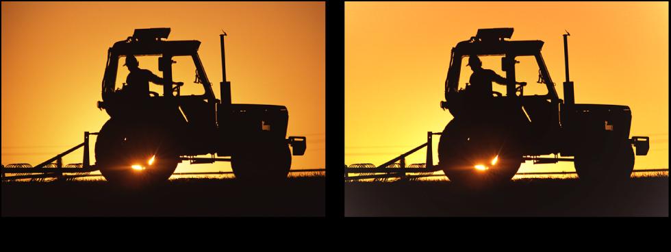 Figure. Image avant et après application d'un ajustement Corriger le vignettage.