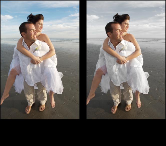 Figure. Image avant et après application d'un ajustement Éclat.