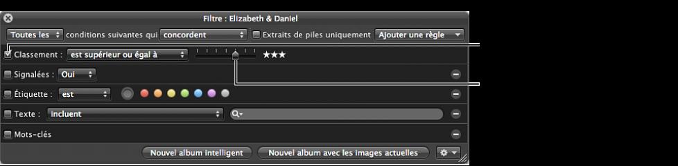 Figure. Palette de filtre affichant la case, le menu local et le curseur Classement.